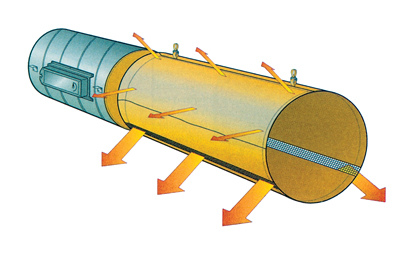 """Воздухораспределительная система на основе тканевых воздуховодов предусматривает подачу больших объемов воздуха через перфорацию в нижней части воздуховода и равномерное """"просачивание"""" воздуха через ткань воздуховода по всей остальной поверхности"""